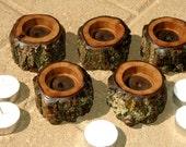 Tea light holders with candles - Black Walnut - 5 Pc. set