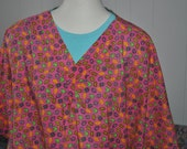 Plus Size 3X 4X Easter Eggs Multi Color Nursing Scrub Top by Sunny Patch Cottage