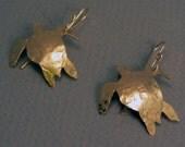 Brass Gold Sea Turtle Earrings