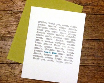 Thank You Various Languages Letterpress Greeting Card (Various Colors Available)