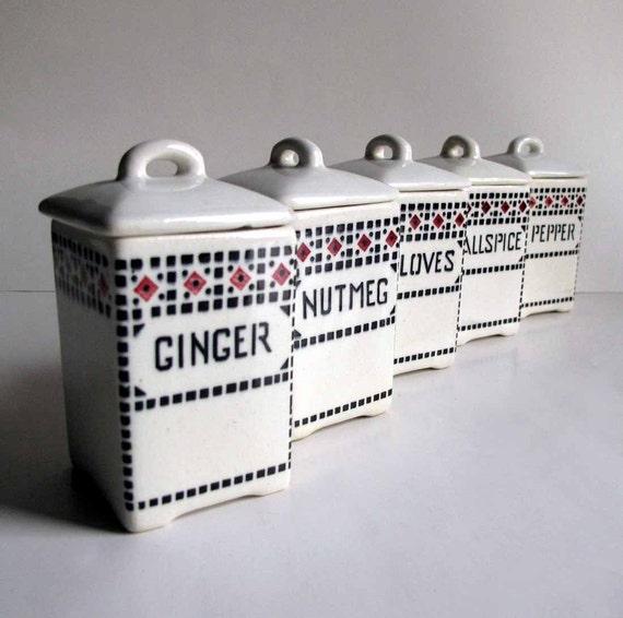 Vintage Czechoslovakia Czech Porcelain Spice Canisters Set of 5 Odette