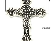 6 Byzantine Cross Charms Pendants, 1.5 inch, Classic Silver (4828)