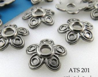10mm Antique Silver Gunmetal Bead Cap, Five Petal Beadcap (ATS 201) 20 pcs BlueEchoBeads