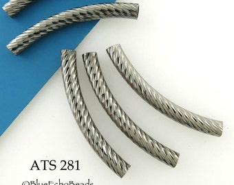 35mm Gunmetal Curved Tube Bead Antiqued Silver Noodle Bead Pattern (ATS 281) 5 pcs BlueEchoBeads