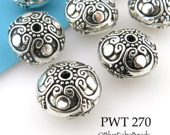 17mm Pewter Beads Bali Style, Large Antique Silver (PWT 270) 3 pcs BlueEchoBeads