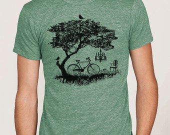 Men's graphic tee, bicycle t-shirt, unisex t-shirt, bicycle, tree, birds t-shirt, Art T-shirt, Cool t-shirt, Gift