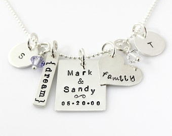 Family Necklace - Simply Charming Necklace with Our Big Day Charm and Swarovski Crystals - mommy necklace - hand stamped