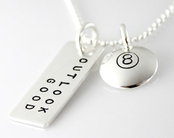Magic 8 Ball Inspired Necklace - Magic 8 Ball Necklace - hand stamped sterling silver necklace