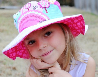 Wide brim sun hat for baby girls, radiant orchid, fuchsia, spring photo hat, adorable sun protection