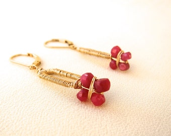 This ruby flower cylinder  earrings