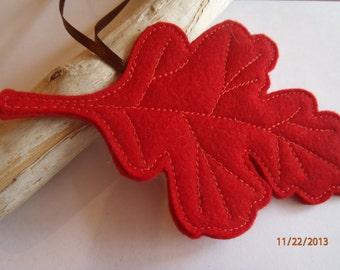 Red Felt Woodland Oak Leaf Ornament