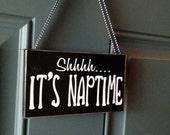 Do Not Disturb Shhhh It's Nap time wood sign - custom door hanger