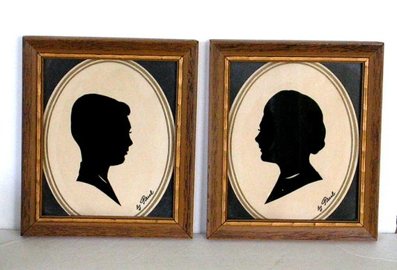Vintage Silhouette Cameo Cut Out Portraits Framed Pair Artist Signed Paul