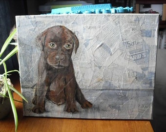 on sale *  Paper Training - chocolate lab painting 11 x 14 original- mixed media recycled project