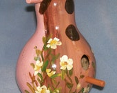 Pretty in Pink Hand Painted Birdhouse Gourd
