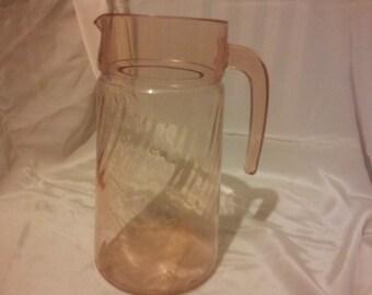 durand rosaline pink glass pitcher