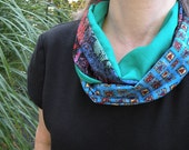 Infinity scarf: women's cowl circle heart pattern fashion. Valentine for her, Valentine's Day. Blue green purple brown boho Lhasa i352