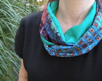 Scarf women's infinity fashion clearance sale. Valentine's Day. Blue green purple brown boho heart Lhasa, lifesanexpedition i352