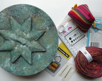Knitting yarn gift box organizer, knitters crocheters, wpi tool needle gauge pin cushion organizer cards star sun swap Mother's Day