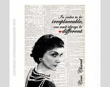 COCO CHANEL art print on upcycled repurposed vintage Dictionary Book Page motivational inspirational fashion industry quote typography 8x10