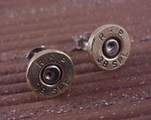 Bullet Earrings 38 Special Brass Shell Recycled Upcycled - Free Shipping to USA