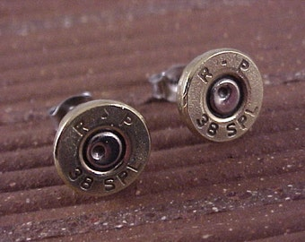 Bullet Earrings 38 Special Brass Shell Recycled Upcycled