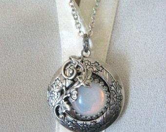 Moon, Locket, Moonstone Jewelry, Moonstone Locket, Full Moon, Moon Jewelry, Moon Necklace, Opal Necklace, White Stone, Opal Leaf Locket