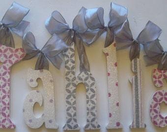GLITTER  nursery wall letters - wooden letters -  nursery letters - pink nursery - any color & theme