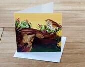 BOGOF SALE Hedgehog and Song Thrush Greetings Card