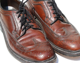 Vintage Mens Oxford Wingtip Shoes Crown Imperil Size 9