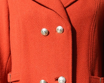 Long Orange Vintage Coat Made by Bromleigh Double Breasted Wool Brass Buttons and Buckles
