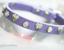 Lavender Heart Crystal Leather Dog Collar, Leather Dog Collar, Crystal Dog Collar