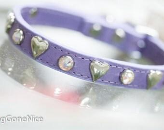 Lavender Heart Crystal Leather Dog Collar, Leather Dog Collar, Crystal Dog Collar