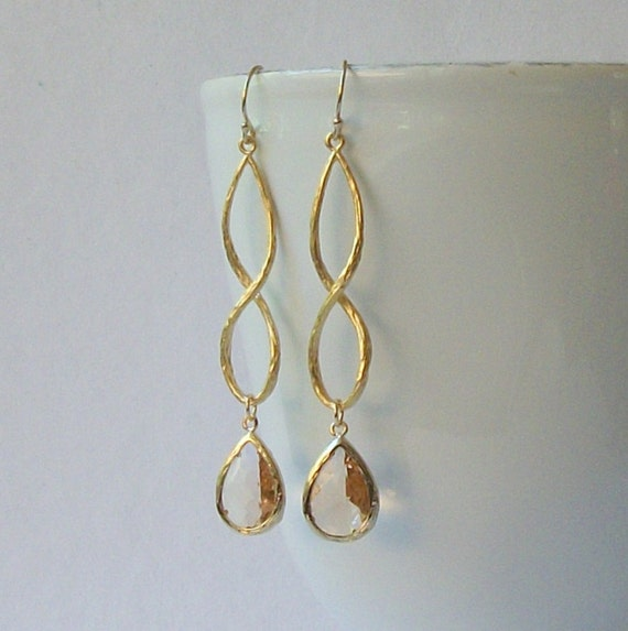 LAST ONE Blush Long Crystal Drop Earrings