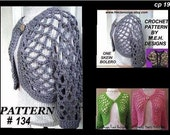 CROCHET PATTERN - shrug, # 134 One Skein Open Weave Shrug/Bolero..Make it long or short sleeve...size s, m, l, and x-large...worked round