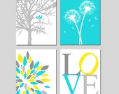 Yellow Aqua Gray Baby Nursery Art Quad - Birds in a Tree, Love, Abstract Floral, Dandelions - Set of Four 11x14 Prints - CHOOSE YOUR COLORS