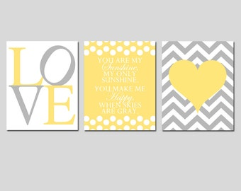 Modern Nursery Art Trio - You Are My Sunshine, LOVE, Chevron Heart - Set of Three 11x14 Prints - Choose Your Colors - Pale Yellow and Gray