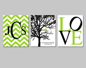 Family Love - Set of Three 8x10 Prints - Chevron Monogram, Family Established Birds Tree, Love - GREAT WEDDING GIFT - Choose Your Colors