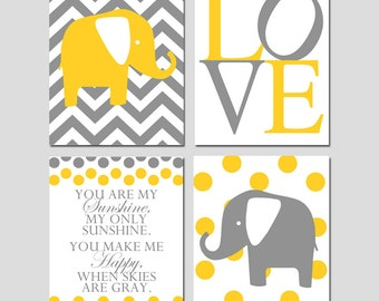 Elephant Love Quad - Set of Four 11x14 Nursery Art Prints - You Are My Sunshine Quote - Chevron and Polka Dot Elephants - Yellow and Gray