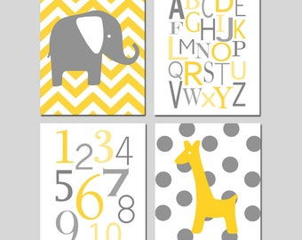 Yellow Grey Gray Nursery Art - Chevron Elephant, Modern Alphabet, Numbers, Polka Dot Giraffe - Set of Four 8x10 Prints - CHOOSE YOUR COLORS