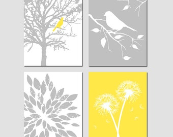 Yellow Gray Art Quad - Set of Four 8x10 Nursery Prints - Bird in a Tree, Bird on a Branch, Dandelions, Abstract Floral - CHOOSE YOUR COLORS