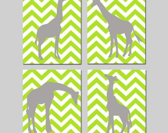 Chevron Giraffe Nursery Art - Set of Four 8x10 Prints - Kids Wall Art - CHOOSE YOUR COLORS - Shown in Lime Green, Gray and More
