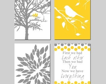 Yellow Grey Gray Nursery Art - Three Birds in a Tree, Bird on a Branch, Abstract Floral, First We Had Each Other - Set of Four 11x14 Prints