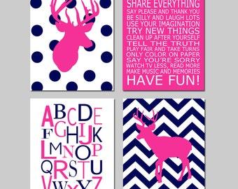 Baby Girl Nursery Art - Chevron Deer Nursery Prints - Kids Wall Art Baby Girls Room - Baby Nursery Decor Playroom Rules Quote - Set of 4