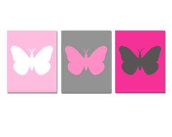 Butterfly Silhouette Baby Girl Nursery Art Butterflies - Set of Three 8x10 Prints - CHOOSE YOUR COLORS