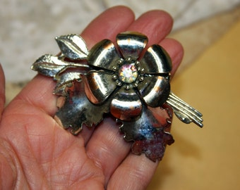 Vintage Brooch Silver Toned Floral with Rhinstone