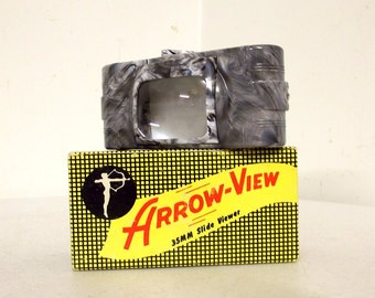 35 mm Slide Viewer with original box - Grey and White Swirl - Arrow View