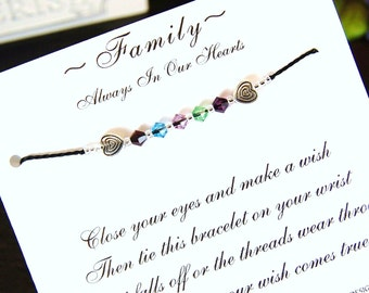 Family - Always In Our Hearts - Custom Made Wish Bracelet With Swarovski Crystals