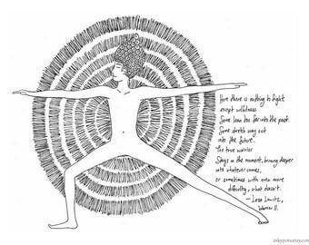 Warrior II - with words by Leza Lowitz - large silkscreen print