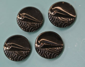 Lot of 4 gorgeous vintage 1940s round black buttons with selfschrank and silverdecor